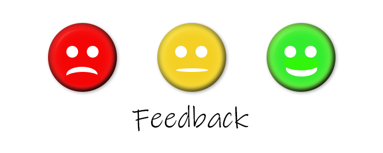 three smiley faces of positive negative content feedback